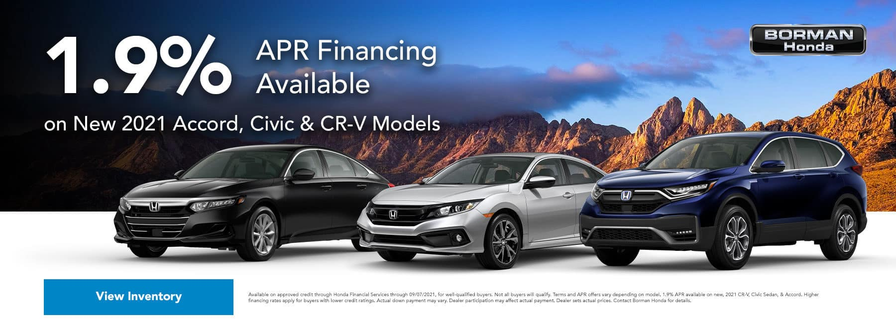 1.9% APR Financing Available on New 2021 Accord, Civic & CR-V Models