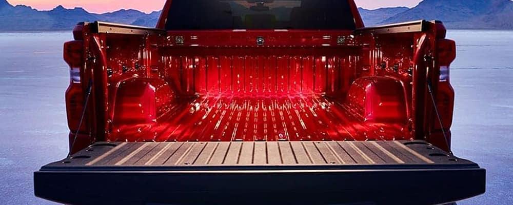 bed of red 2021 chevy silverado