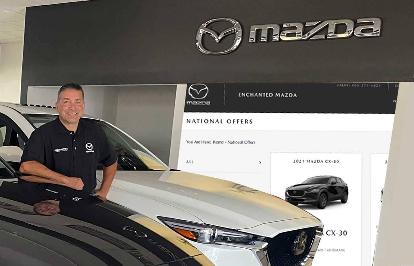 buddy standing in Mazda showroom