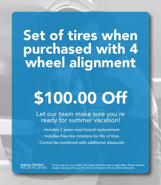 $100 Off Set of Tires