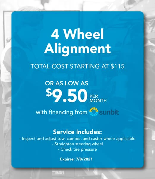 4-Wheel-Alignment Coupon: Total Cost Starting at $115 or as low as $9.50 per month