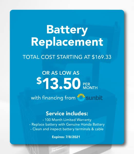 Battery Replacement Coupon- Total Cost starting at $169.33, or as low as $13.50 per month