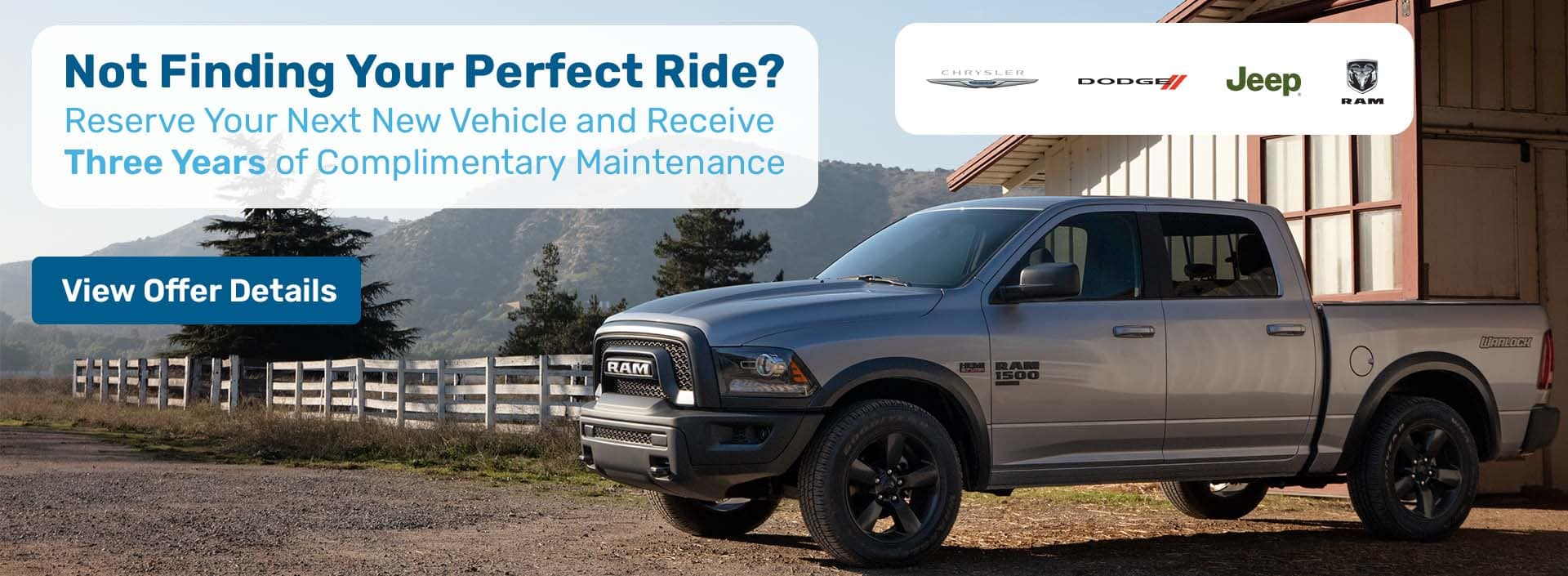 Reserve Your Next Chrysler, Dodge Jeep or RAM and Receive Three Years of Complimentary Maintenance