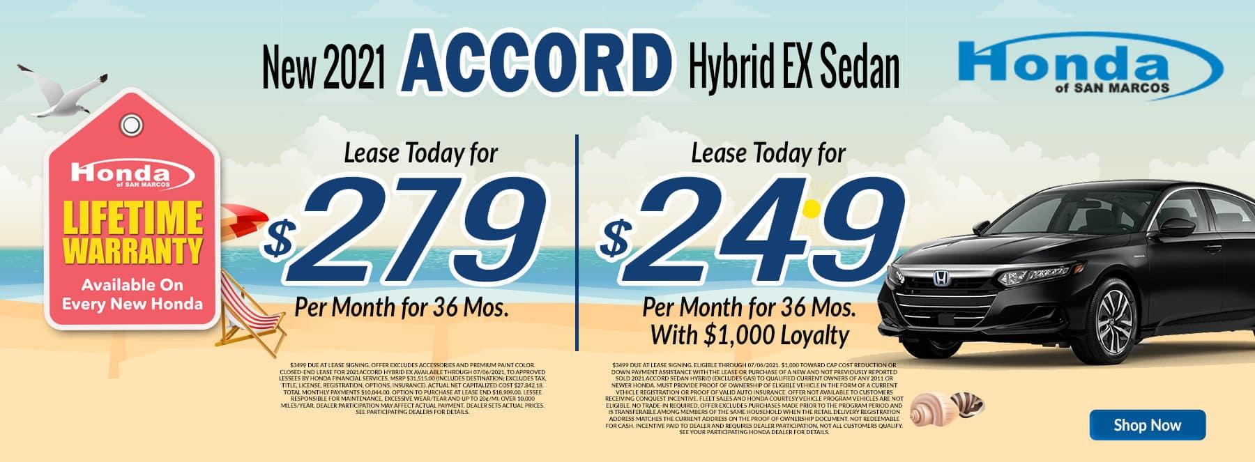 2021 Accord Hybrid Lease Loyalty