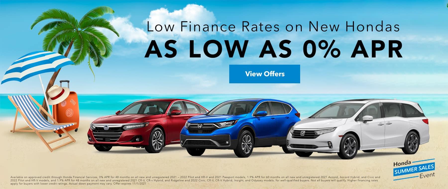 New Hondas as low as 0%APR