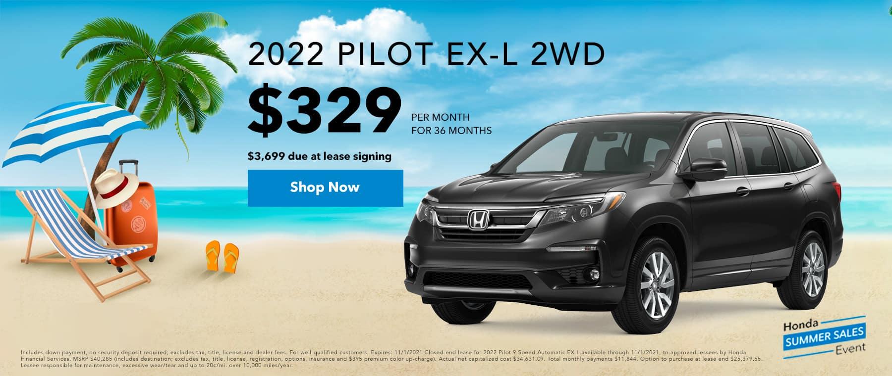2022 Honda Pilot EX-L for $329