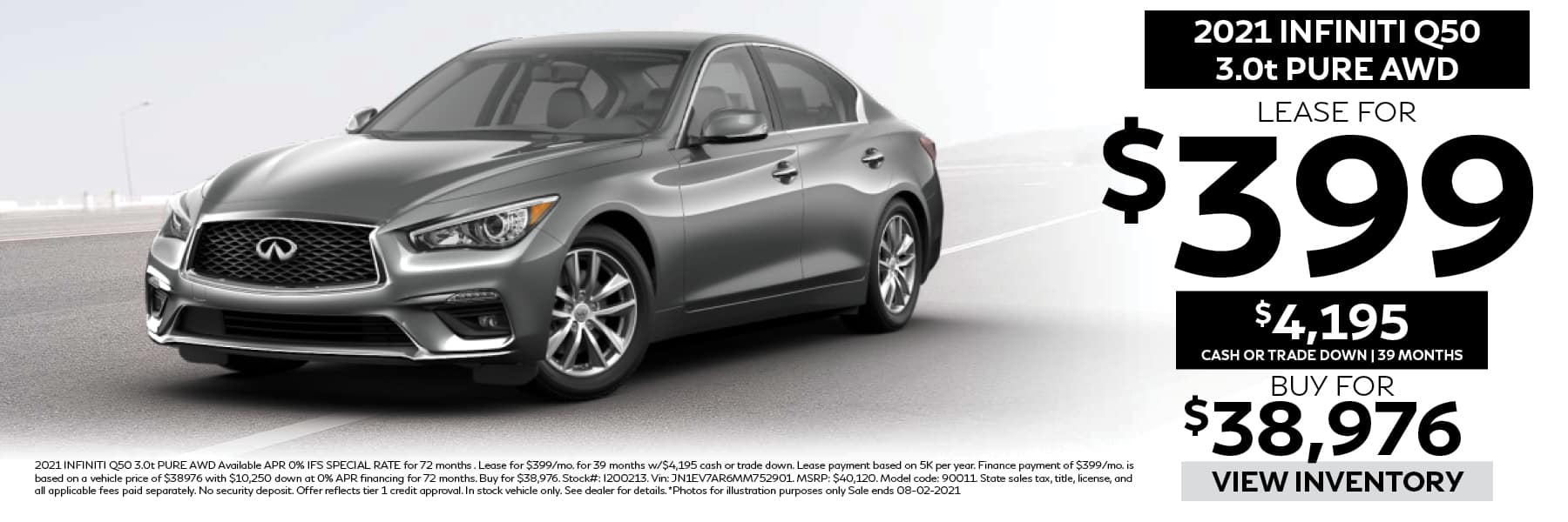 2021 INFINITI Q50 PURE Lease for $399 per Month with $4,195 Cash or Trade Down for 39 Months