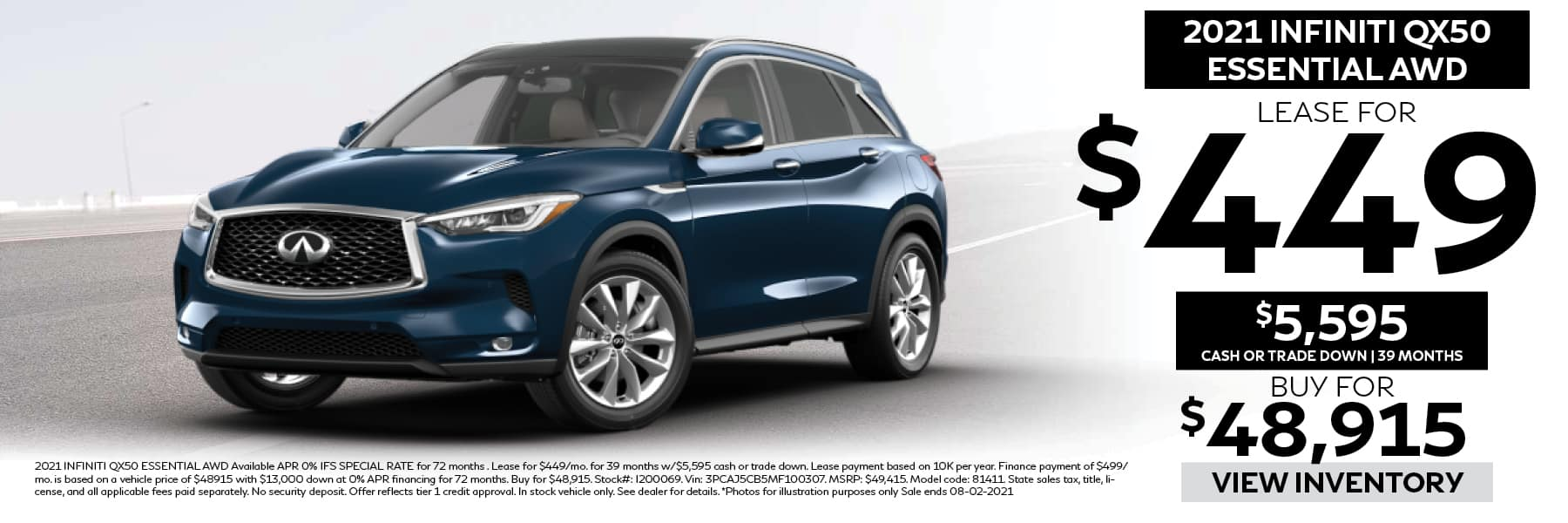 2021 INFINITIQX50 Essential Lease for $449 per Month with $5,595 Cash or Trade Down for 39 Months