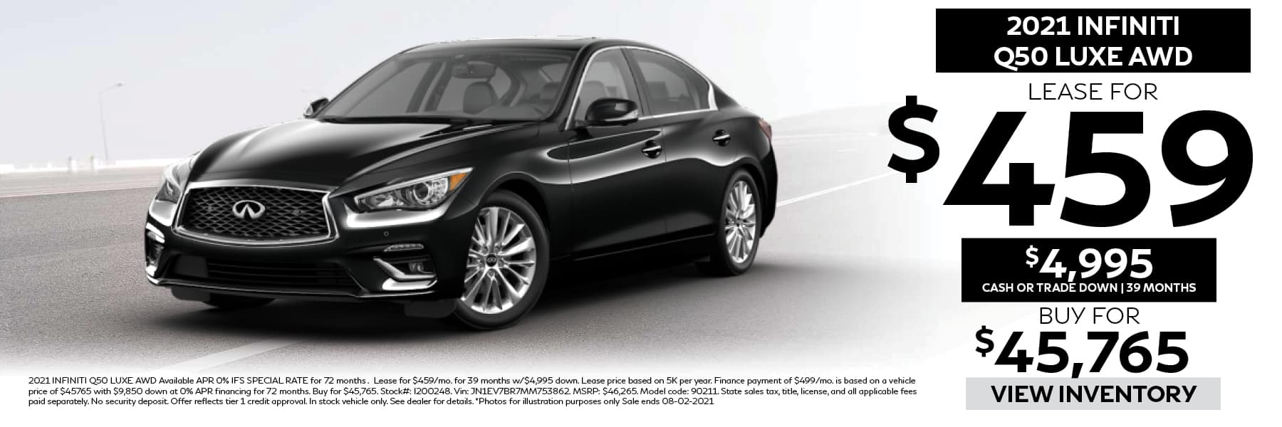 2021 INFINITI Q50 LUXE Lease for $459 per Month with $4,995 Cash or Trade Down for 39 Months