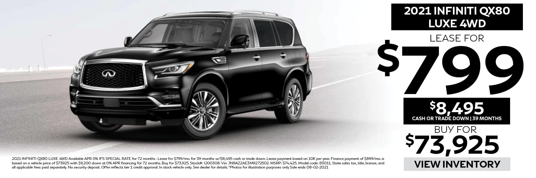 2021 INFINITI QX80 LUXE Lease for $799 per Month with $8,495 Cash or Trade Down for 39 Months
