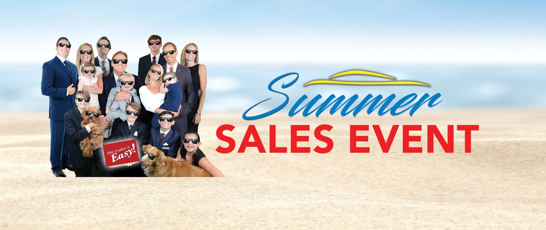 Brian Kelly with Family at Beach for Kelly INFINITI Summer Sales Event