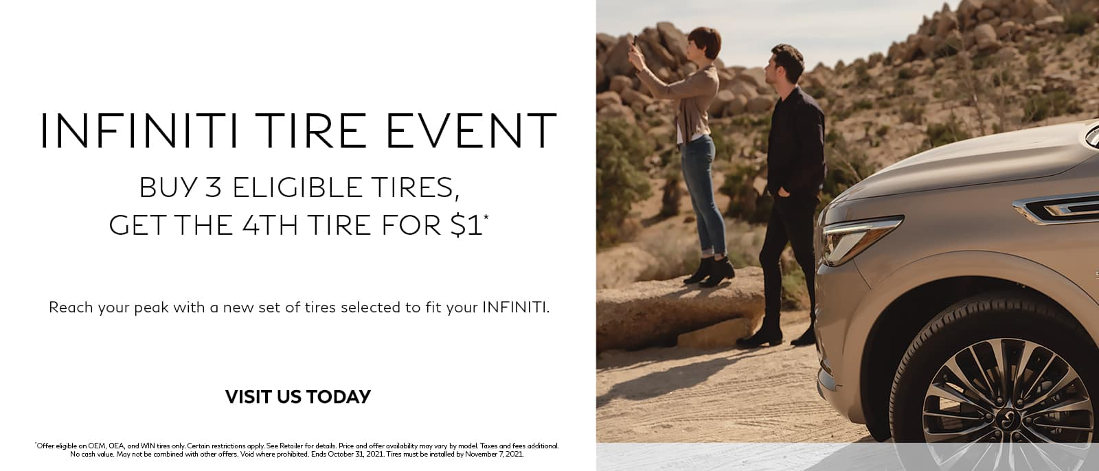 Buy 3 Tires Get 1 For $1 At Kelly INFINITI
