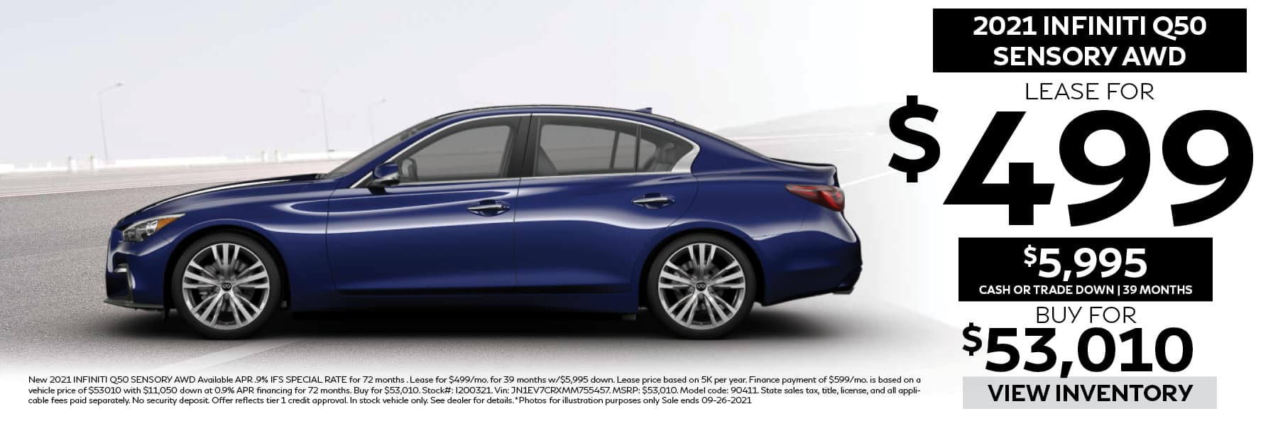 Lease 2021 INFINITI Q50 SENSORY for $499 per Month with $5,995 Cash or Trade Down