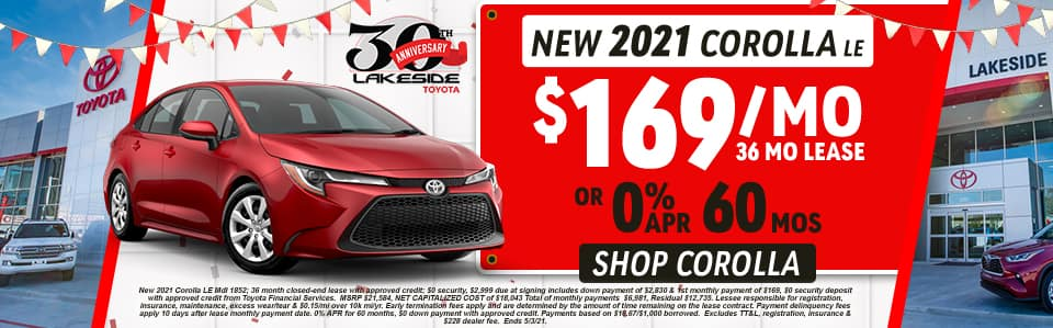 New 2021 Corolla LE $169/Month 36 Month Lease OR 0% APR for 60 months
