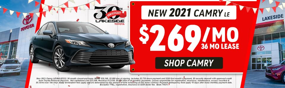 New 2021 Camry LE $269/mo 36 month lease