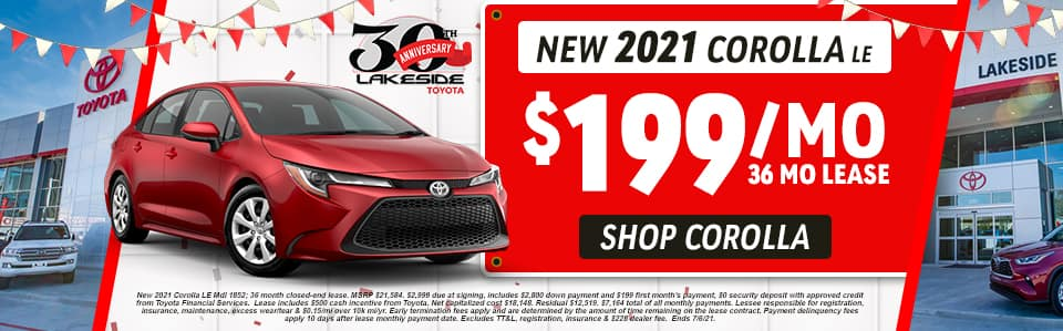 New 2021 Corolla LE $199/Month 36 Month Lease