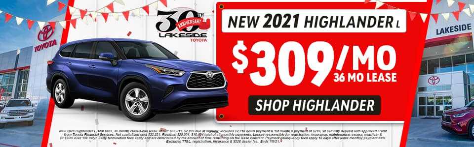 New 2021 Highlander L $309/mo 36 month lease