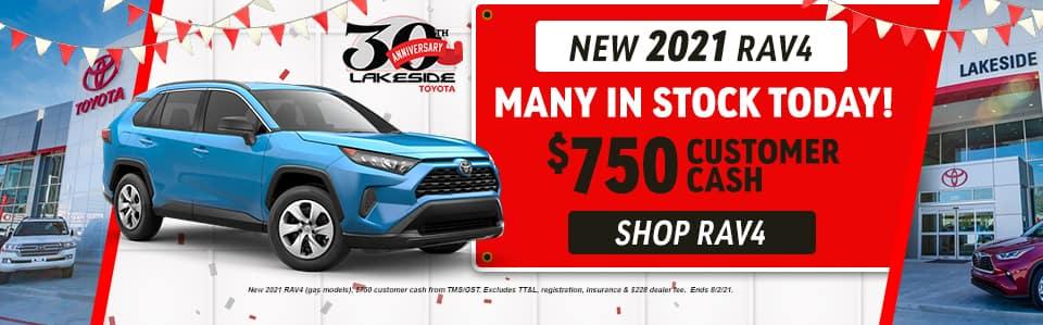 New 2021 RAV4 $750 Customer Cash