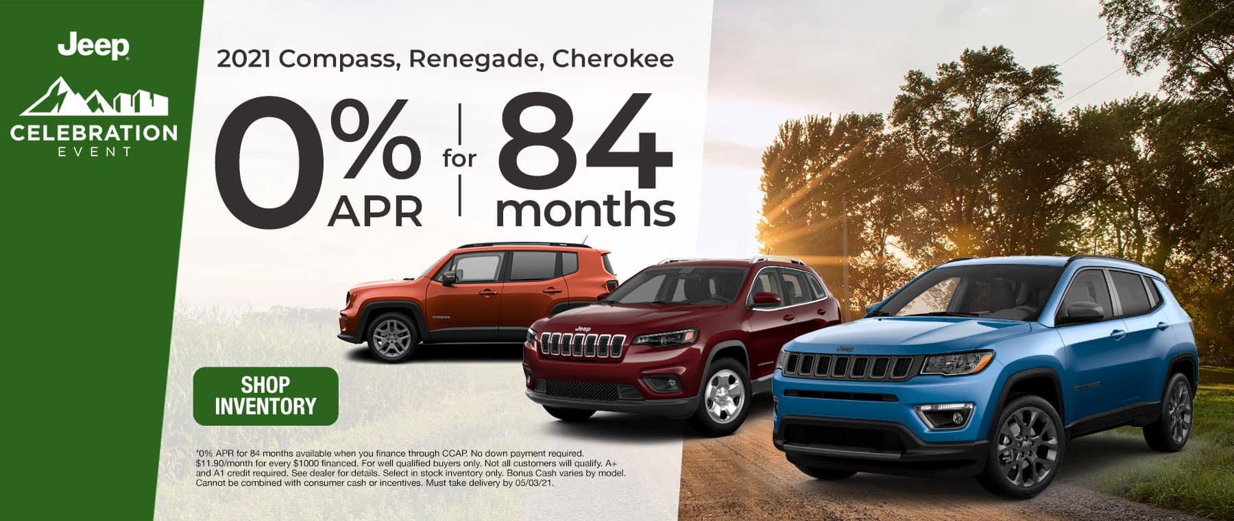 2021 Compass, Renegade, Cherokee - 0% APR for 84 Months