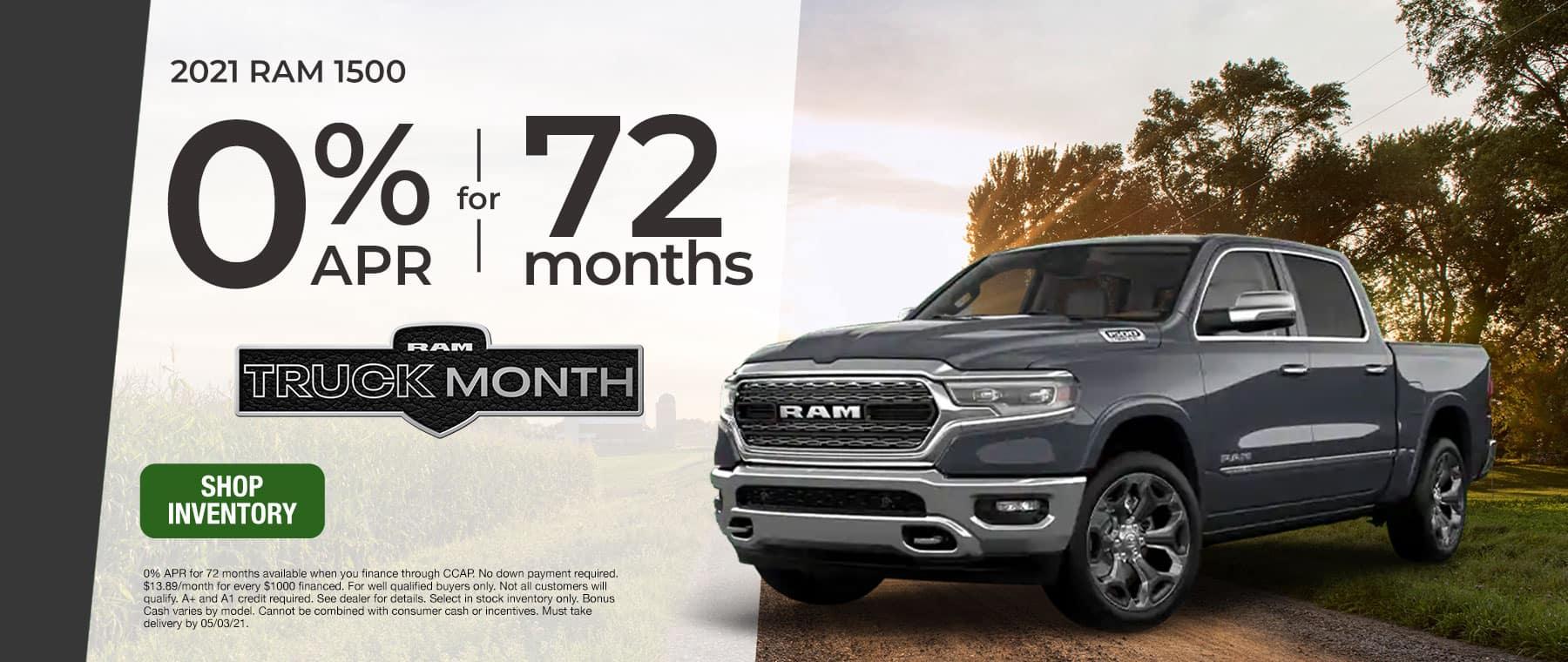 2021 RAM 1500 – 0% APR for 72 Months