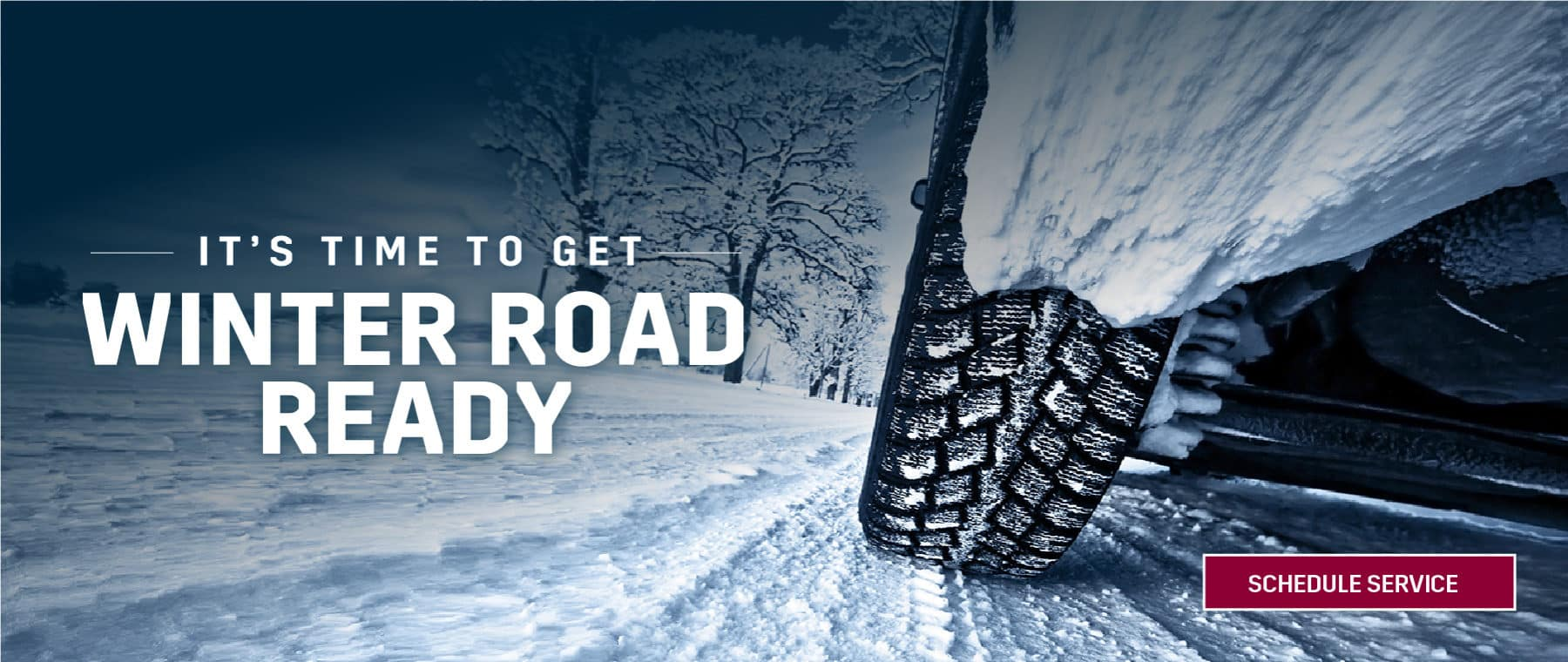 Get Winter Road Ready image with a tire in the snow