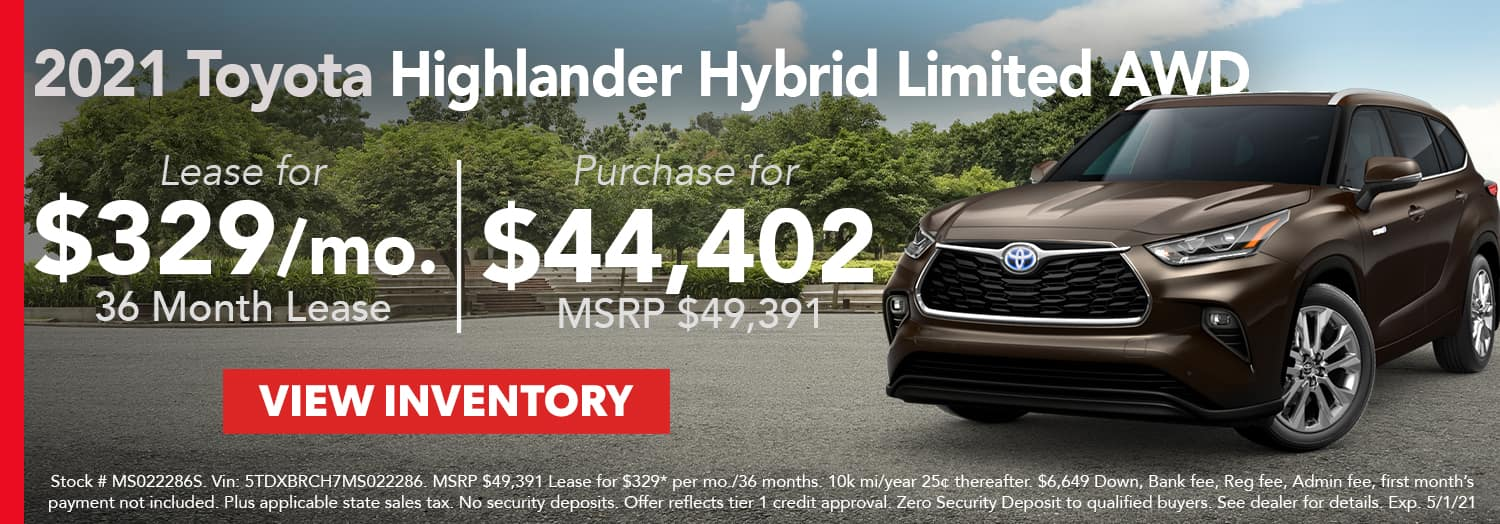 Lease a 2021 Toyota Highlander Hybrid Limited AWD